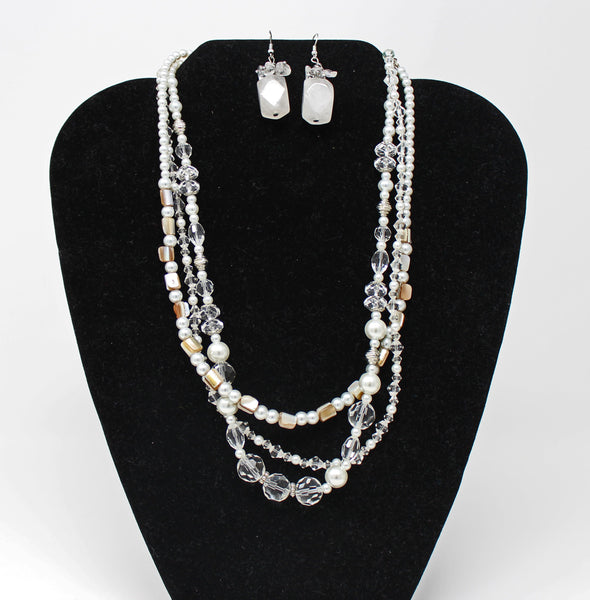 Multi Strand Pearl Bead Necklace with White Quartz Earrings Set