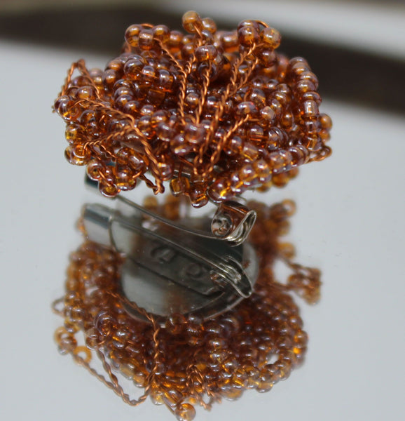 Orange and Copper Beaded Wire Broach