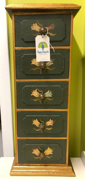 "4-VP9 Hand Painted Green 26"" H Chest w/Drawers, Peru"