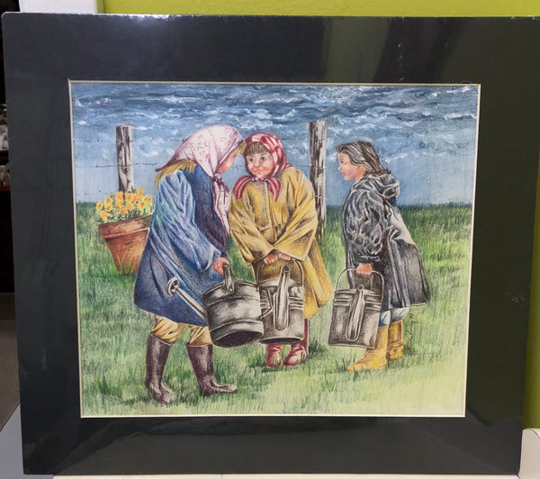 Drawing Colored Pencil Three Girls in a Field