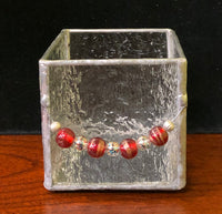 Stained Glass Candle Holder - Blush with Beads