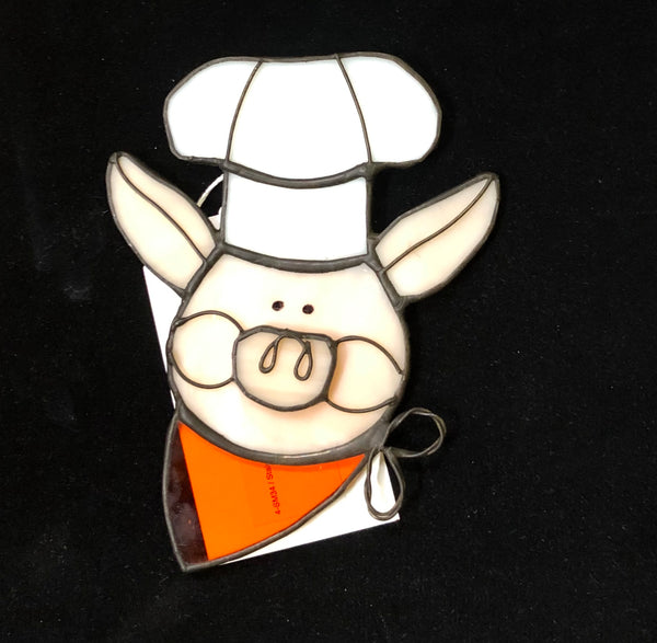 Stained Glass Pig with Baker Hat and Orange Scraf