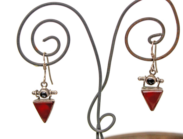 Silver with Dark Red Triangle Earrings