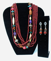 Multi Color Strand Necklace and Earrings Set