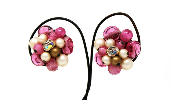 Clip On Pink Stone and White Pearl Earrings