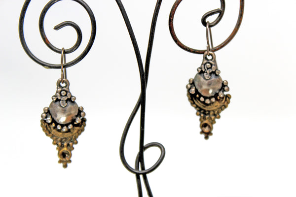 Silver and Gold Earrings with in laid silver balls