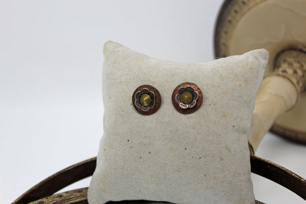Bronze Circle with Gold and Silver Flower Stud Earrings