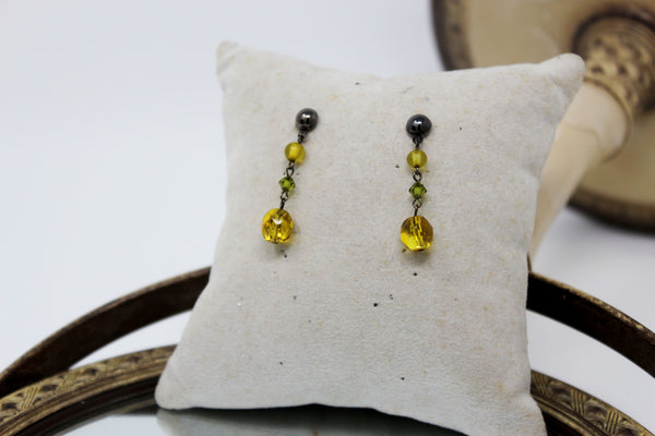 Silver with Yellow Beads Dangling Earrings