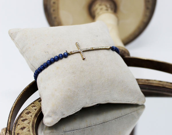 Diamond Cross Bracelet with Navy Beads