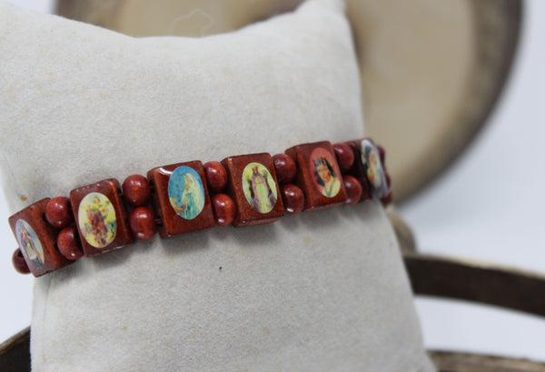 Religious Paintings on Wooden Circle Bracelet