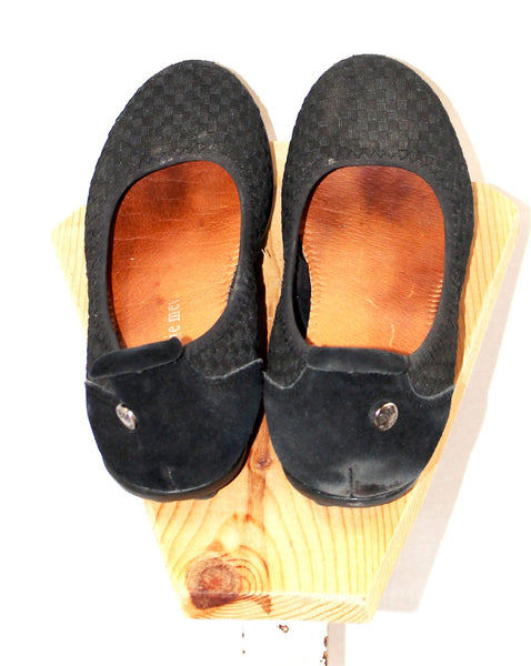 Bernie Mev Black Weave with Suede Flats