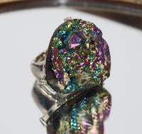 Purple, Green, and Blue Shiny Stone Ring