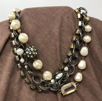 Silver, Pearl, and Gold Triple Strand Necklace