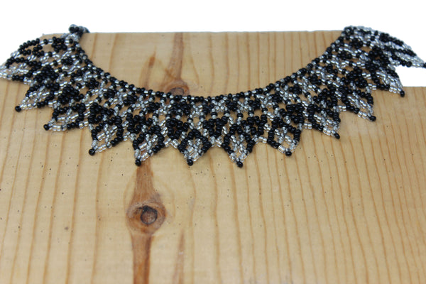 Silver and Black Beads Collar Necklace