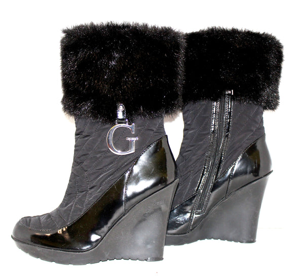Guess Black Heeled Fur Boots