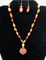 Authentic Red Stone Necklace and Earrings Set