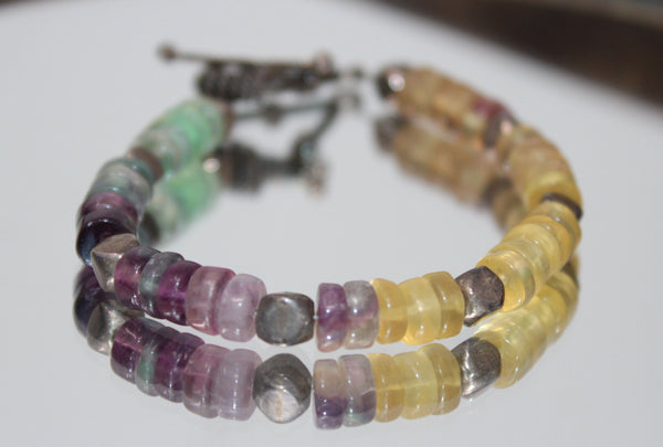 Yellow, Purple, and Green Stone Beads Bracelet