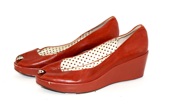 Red Leather BCBG Platforms