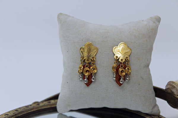 Stud Earrings with Gold Swirls and Silver and Rust Dangled Stones