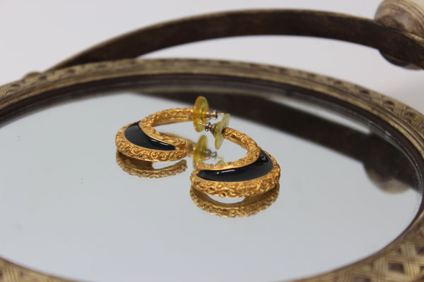 Gold and Black Crescent Shape Earrings