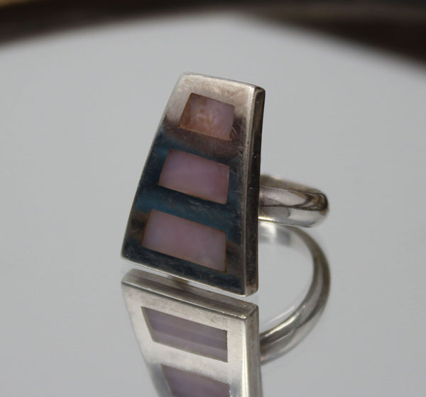 Trapezoid Shape with Pink Stone Ring
