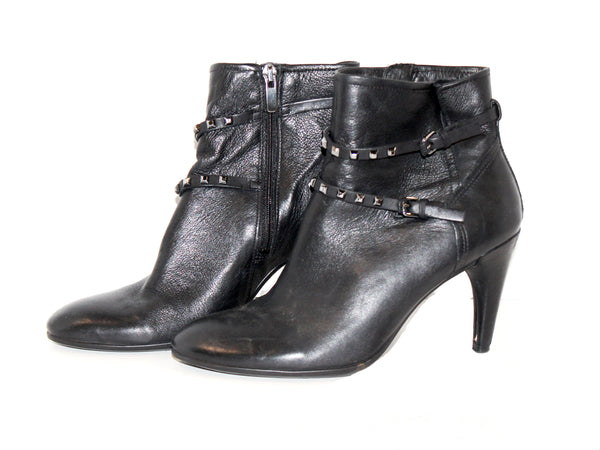 Black Leather Heeled Booties