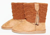 Light Brown Suede with Tassels Winter Boots