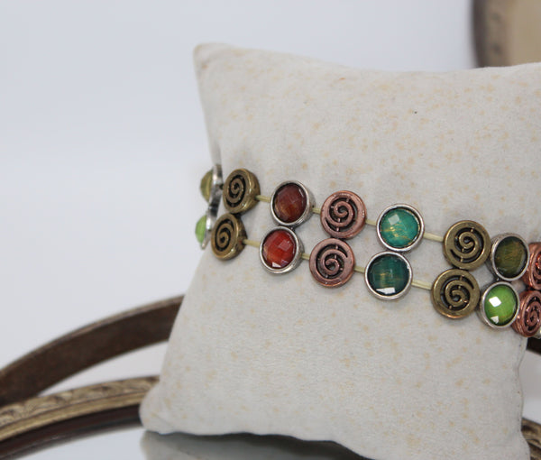 Bronze and Gold Swirl with Multi Color Stones Stretchy Bracelet