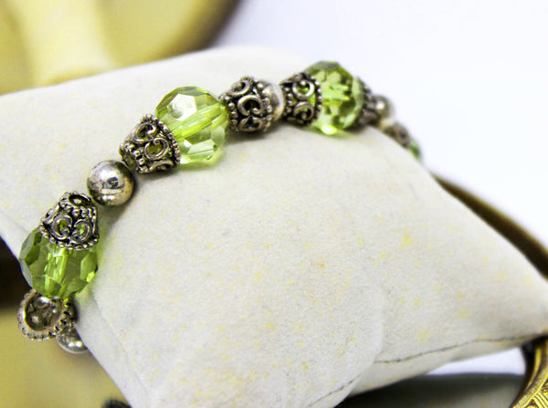 Pale Green Beads with Silver Filigree Spacers Bracelet