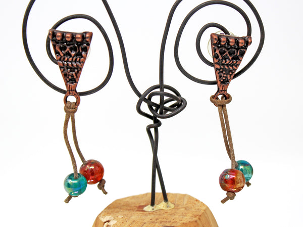 Bronze Triangles with Dangling Blue and Orange Bead Earrings