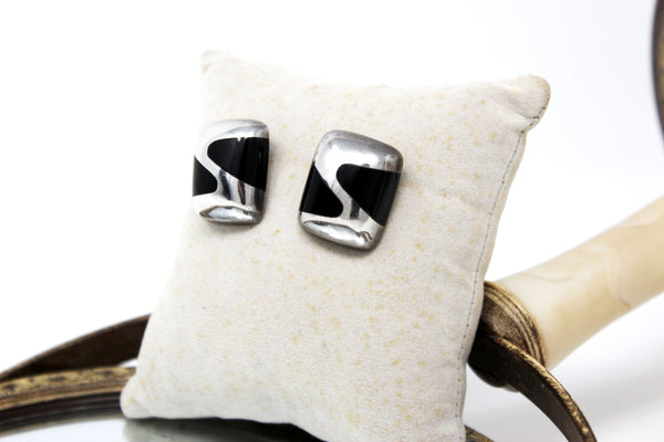 Square Onyx and Silver Earrings