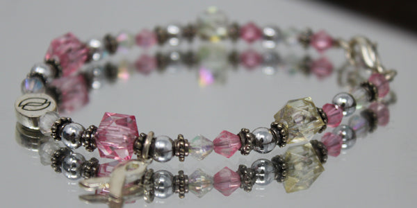 Silver and Pink Breast Cancer Bracelet