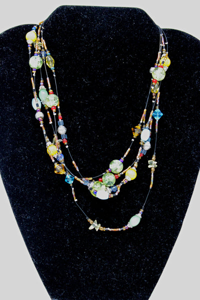 Blue, Yellow, and Green Beaded Necklace