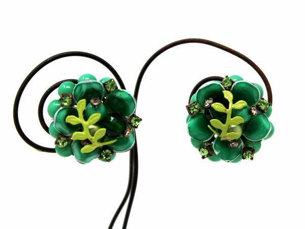 Clip On Green Flower Earrings