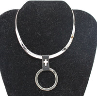 Silver Textured Choker with Silver Pendant