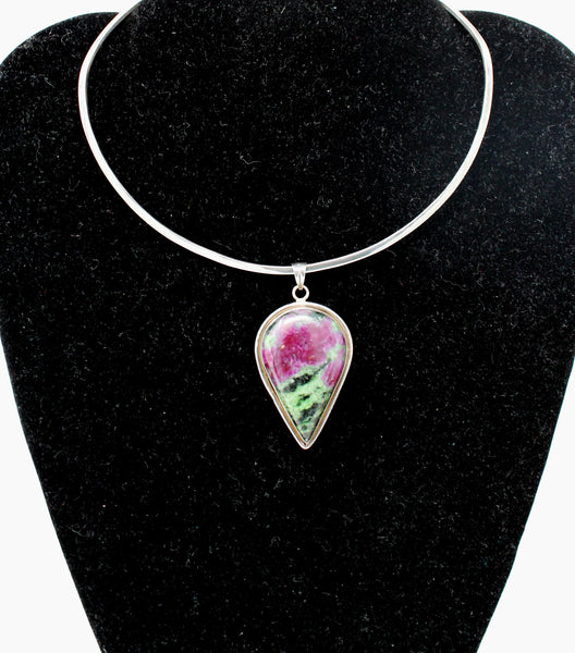 Silver Wire Choker with Purple and Green Pendant