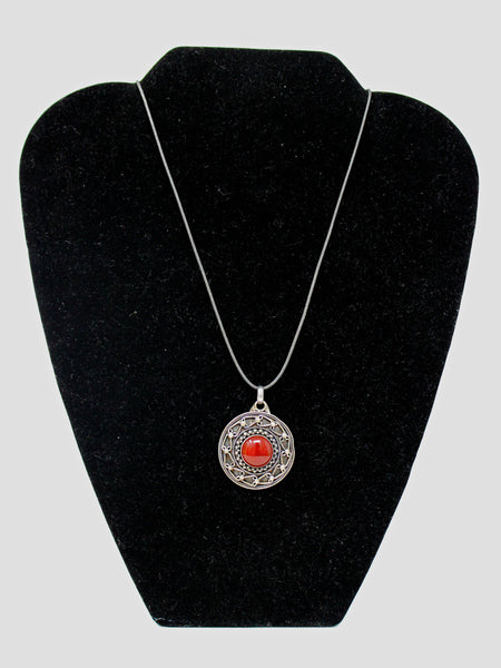 Silver Circle Pendant with Red Stone Necklace