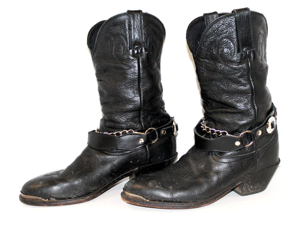 Black Leather Cowgirl Boots with Chain