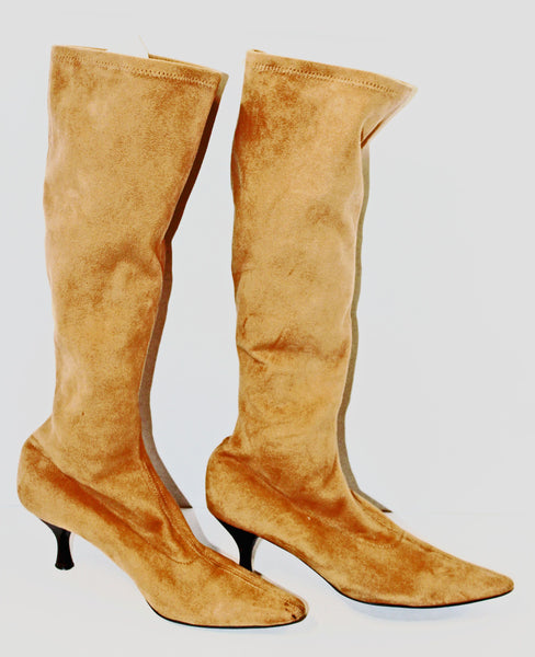 Light Brown Suede Heeled Boots