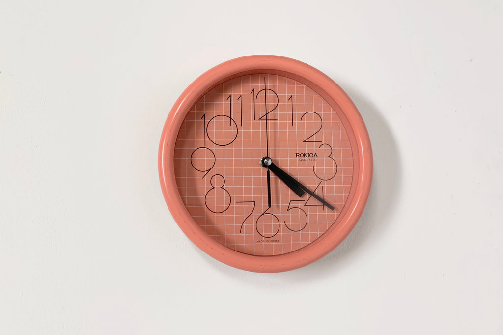 Coral Grid Wall Clock