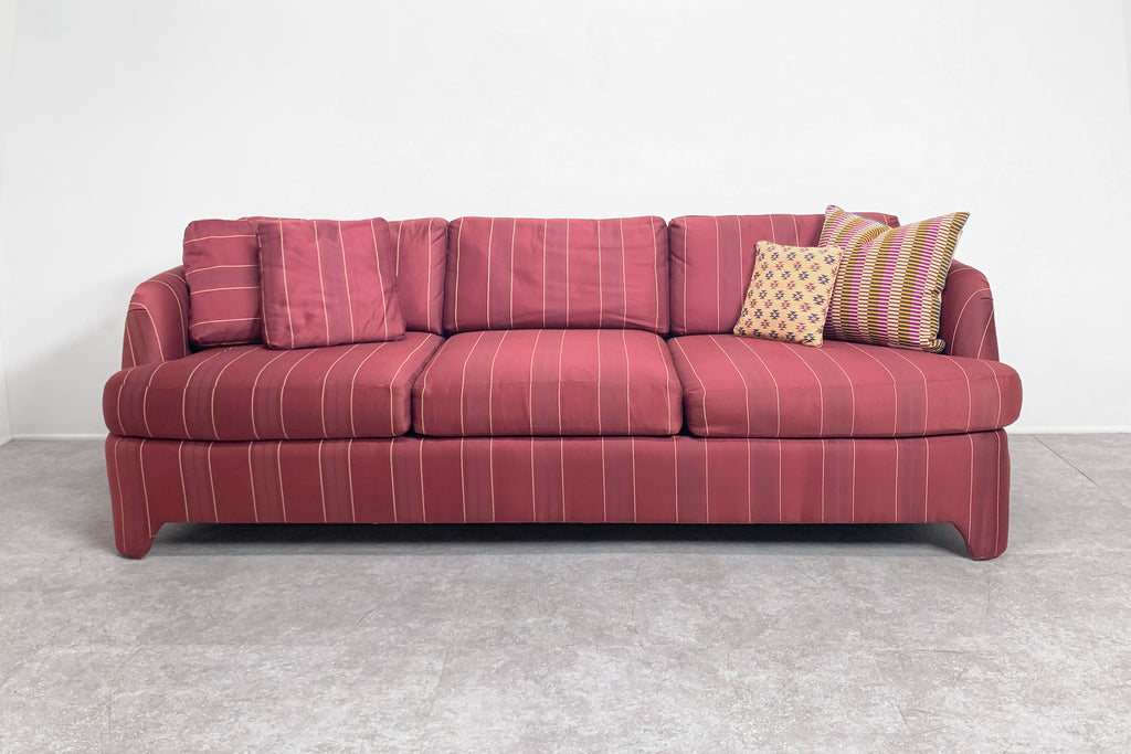 Maroon Stripped Three-Seater Sofa