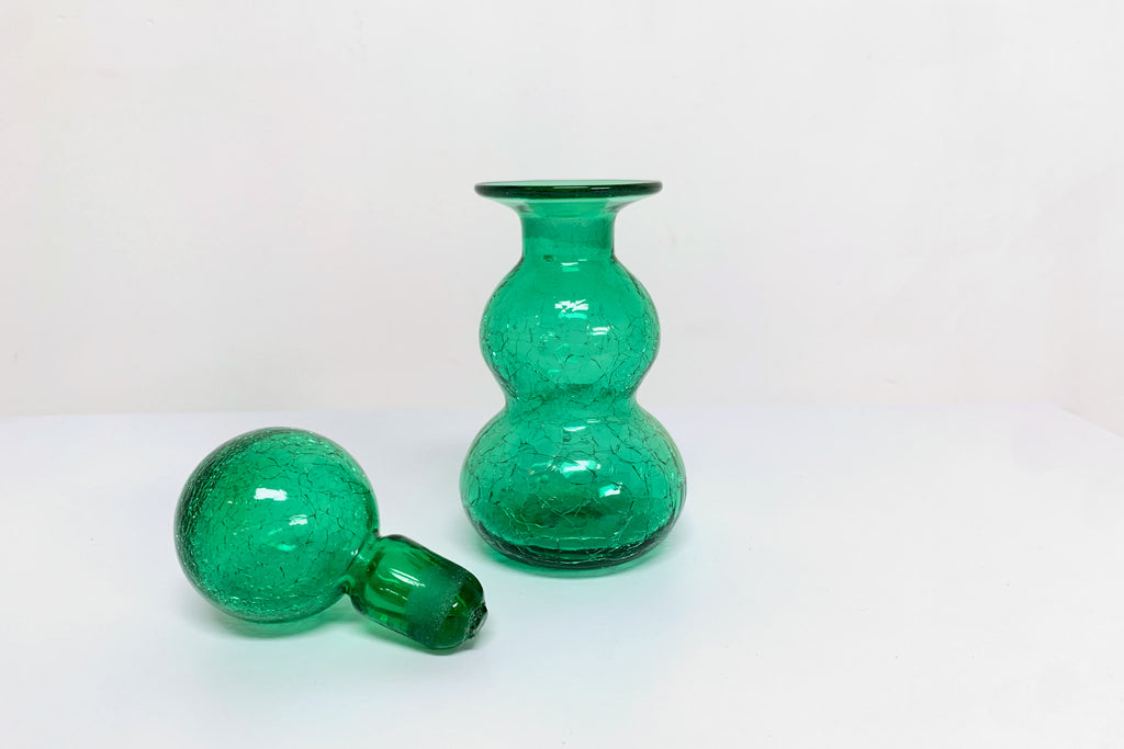 Green Crackle Glass Decanter