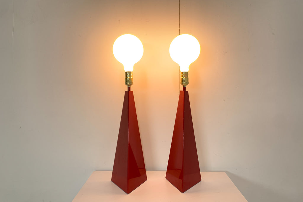 Red Metal Pyramids (Pair)
