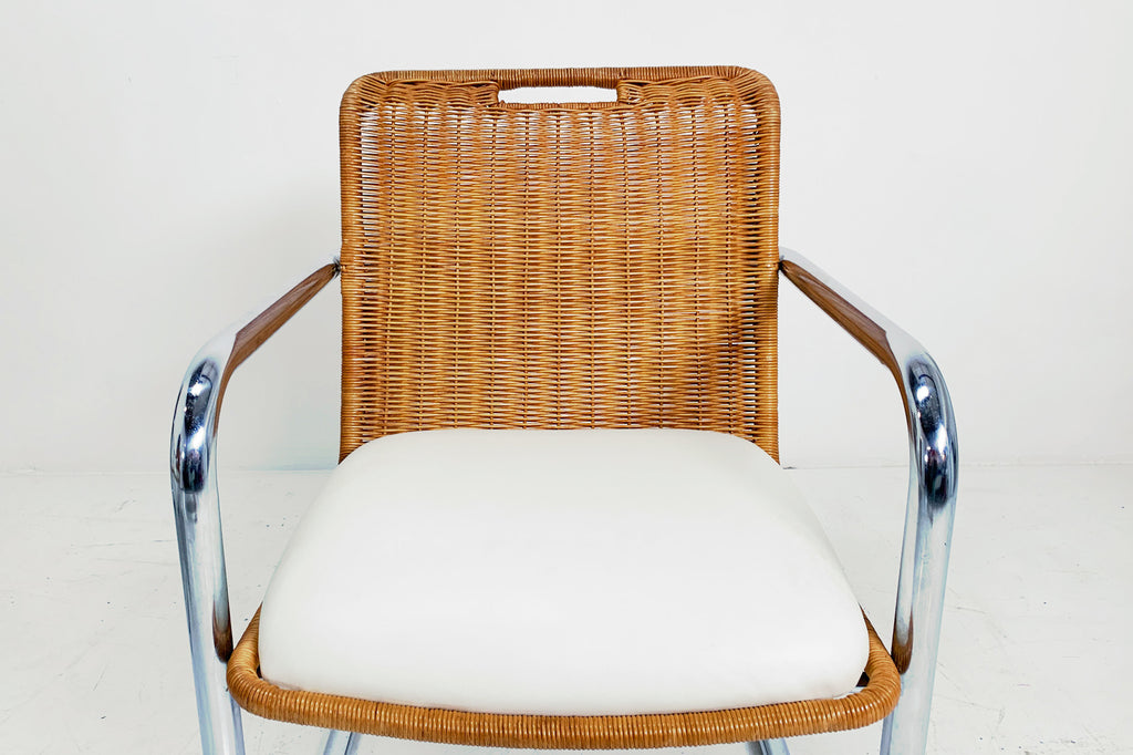 Rattan and Chrome Chairs