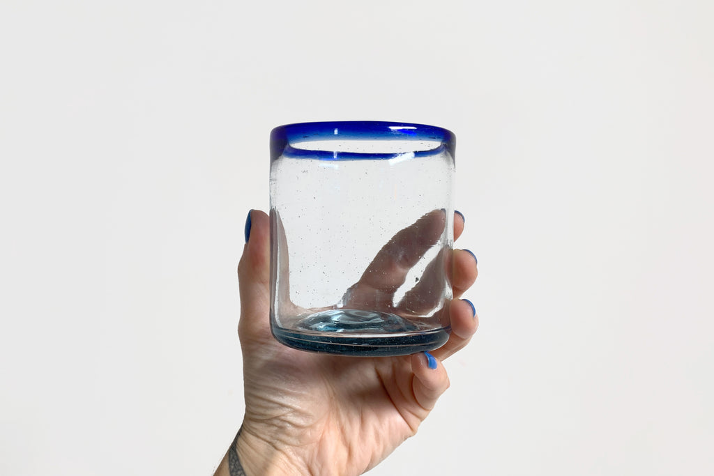 Blue Rim Glass Tumbler