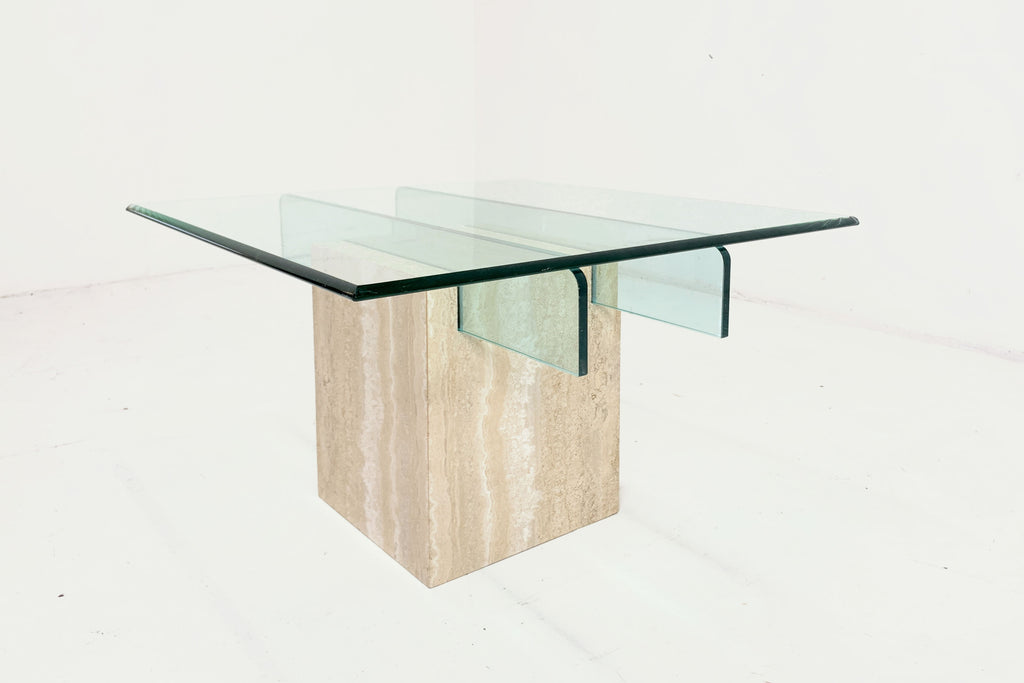 Travertine Glass Table