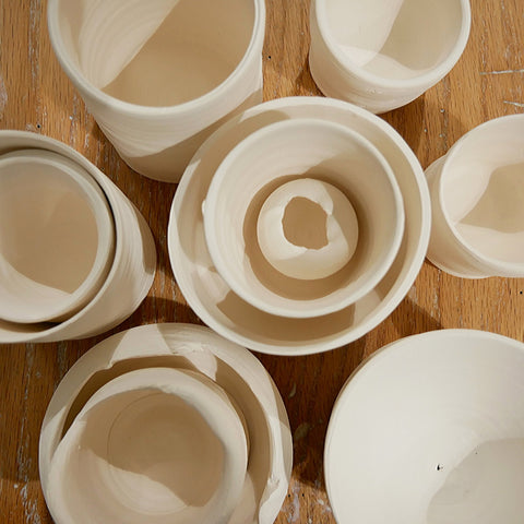unfinished pottery pieces at Alpharetta Ceramic Studio AC Studios