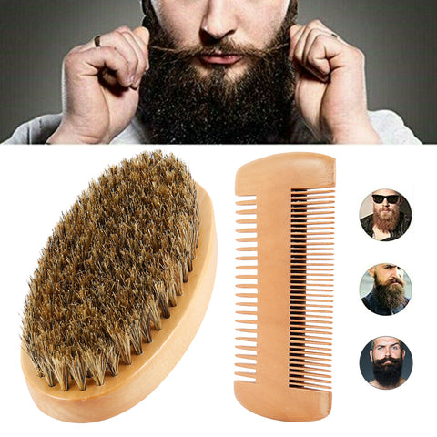 Bearded Men with Mustache Wood Comb and Brush