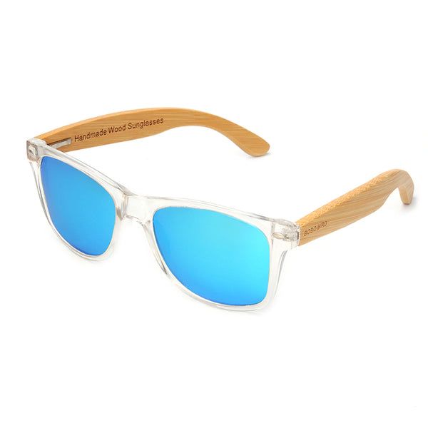 Mens Wood Grain Framed Sunglasses Clear Casual Polarized