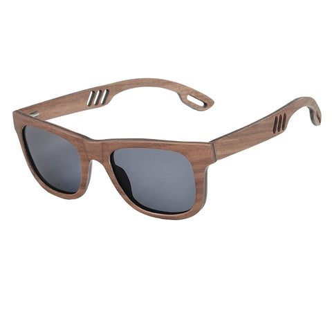 Mens Wood Grain Framed Sunglasses Dark Wood Casual Polarized